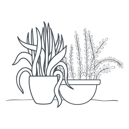Illustration pour houseplants with potted isolated icon vector illustration design - image libre de droit