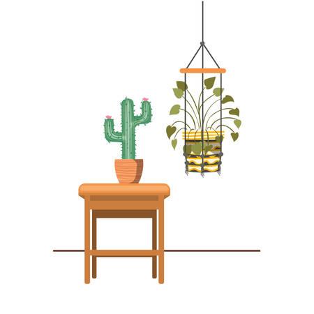 Illustration pour houseplants on macrame hangers and table vector illustration design - image libre de droit