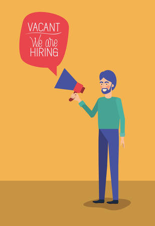 man using megaphone with we are hiring message vector illustration design