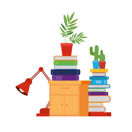 Illustration for wooden drawer with stack of books in white background vector illustration design - Royalty Free Image