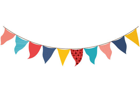 party garland hanging isolated icon vector illustration desing