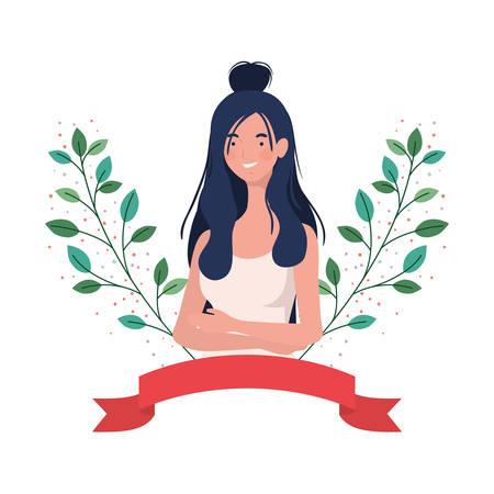 Vektor für young woman with garland and ribbon vector illustration design - Lizenzfreies Bild