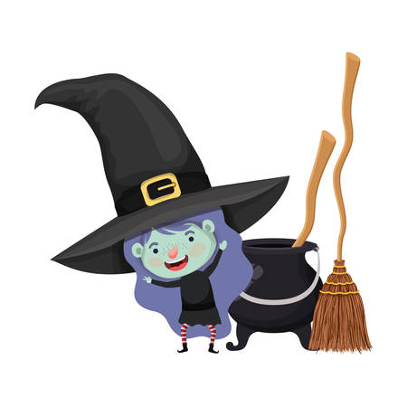 Illustration for cute little girl with witch costume and cauldron vector illustration design - Royalty Free Image