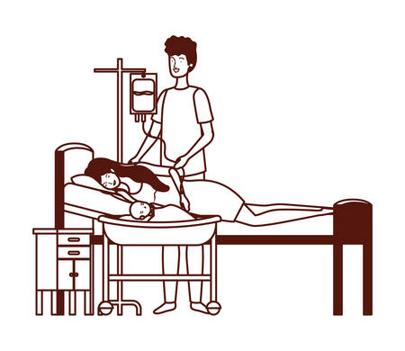 Illustration for mother and father with newborn baby in stretcher vector illustration design - Royalty Free Image