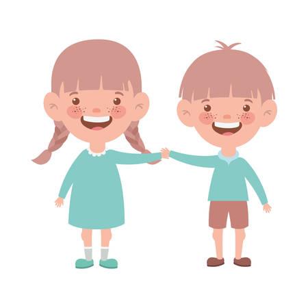 Illustration pour couple baby standing smiling on white background vector illustration design - image libre de droit