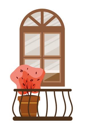 Illustration pour autumn plant in ceramic pot and balcony seasonal scene vector illustration design - image libre de droit