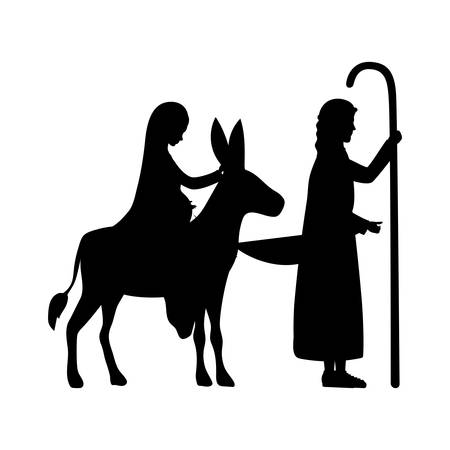 Illustration for joseph and mary virgin in mule silhouettes manger characters vector illustration - Royalty Free Image