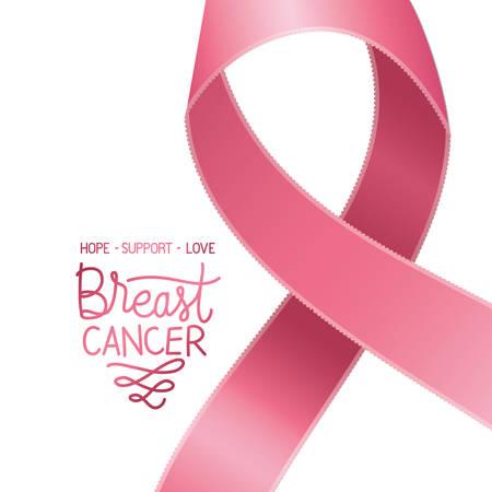 Illustration pour breast cancer campaign ribbon with calligraphy vector illustration design - image libre de droit