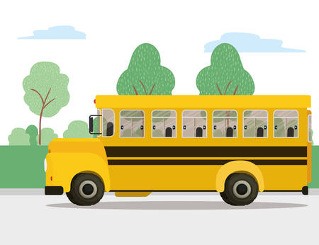 Illustration for Bus icon design, School transportation vehicle education study lesson and class theme Vector illustration - Royalty Free Image