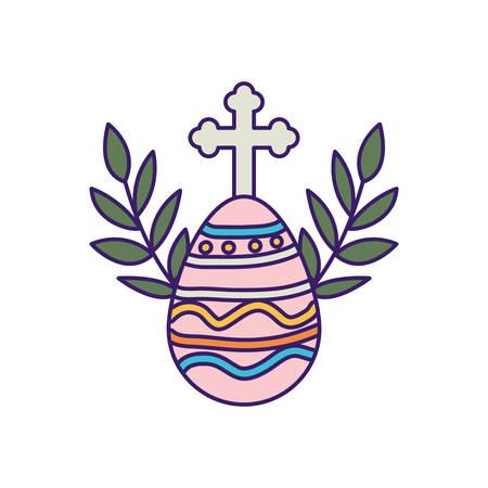 Illustration pour Cross and egg design, religion christianity god faith spirituality belief pray and hope theme Vector illustration - image libre de droit