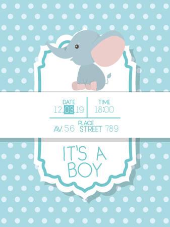 Illustration pour Baby shower invitation with elephant cartoon design, Party card decoration love celebration arrival and born theme Vector illustration - image libre de droit