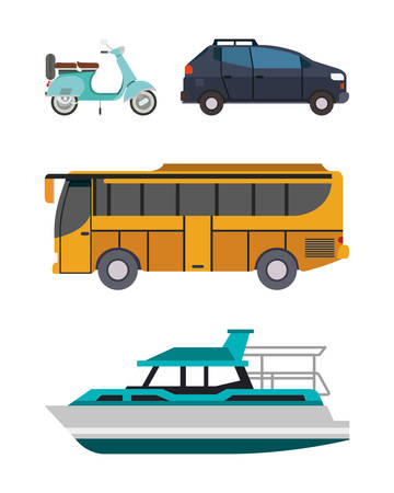 Illustration for Motorcycle car bus and boat vehicles design, Transportation travel trip urban motor speed fast automotive and driving theme Vector illustration - Royalty Free Image