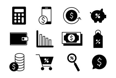 Illustration pour silhouette style icon set of money financial item banking commerce market payment buy currency accounting and invest theme Vector illustration - image libre de droit