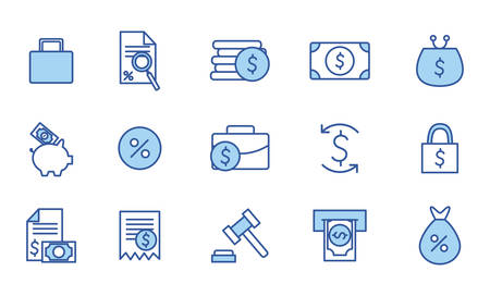 Illustration pour line and fill style icon set of money financial item banking commerce market payment buy currency accounting and invest theme Vector illustration - image libre de droit