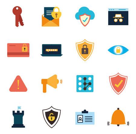 Illustration pour flat style icon set design of Security system warning protection danger web alert and safe theme Vector illustration - image libre de droit