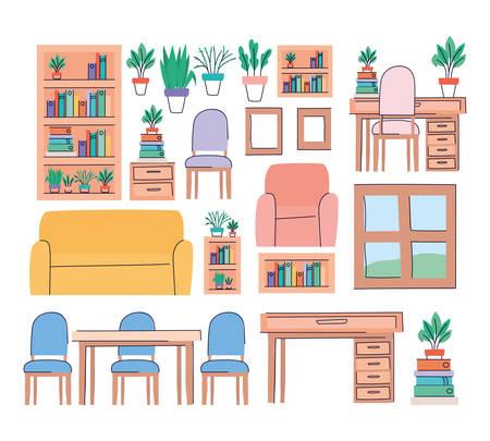 Illustration pour Living room objects set design, Home house decoration interior living building apartment and residential theme Vector illustration - image libre de droit