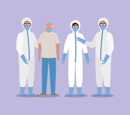 Illustration pour Elder man with mask and doctors with protective suits against Covid 19 design of Medical care hygiene health emergency and patient theme Vector illustration - image libre de droit