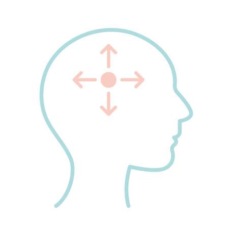 Illustration pour arrows inside human head line style icon design, Mental health mind science intelligence idea medical and education theme Vector illustration - image libre de droit