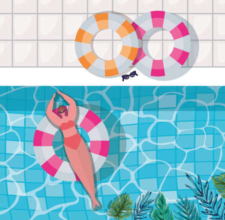 Illustration pour girl cartoon on float at pool with leaves top view design, Summer vacation and tropical theme Vector illustration - image libre de droit
