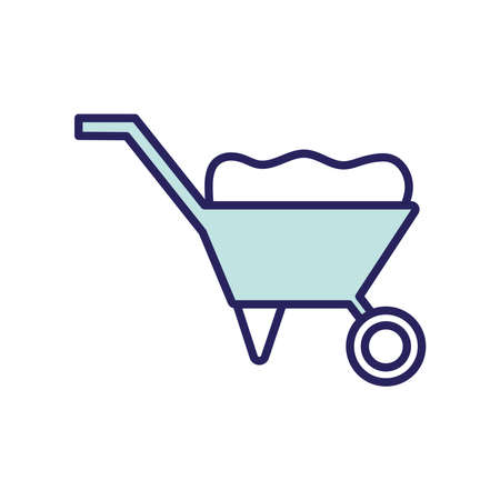 Illustration for wheelbarrow line and fill style icon design, agronomy lifestyle agriculture harvest rural farming and country theme Vector illustration - Royalty Free Image