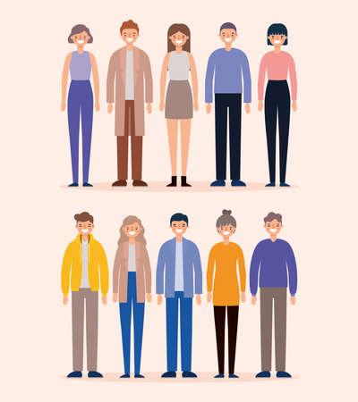 Illustration pour Women and men avatars cartoons smiling design, Person people and human theme Vector illustration - image libre de droit