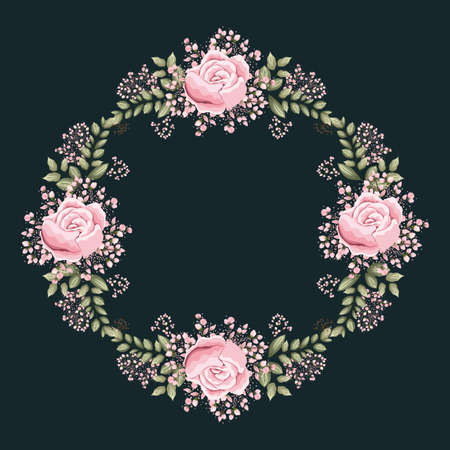 Illustration pour pink rose flowers and leaves painting frame design, natural floral nature plant ornament garden decoration and botany theme Vector illustration - image libre de droit