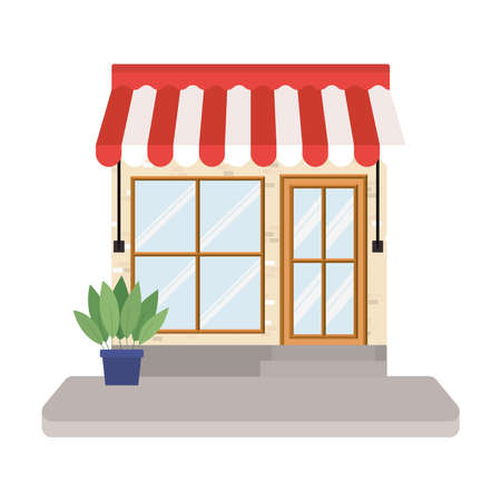 Illustration for store with tent and plant inside pot design of Shop supermarket and market theme Vector illustration - Royalty Free Image
