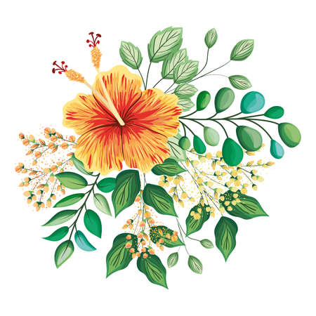 Illustration pour orange hawaiian flower with buds and leaves painting design, natural floral nature plant ornament garden decoration and botany theme Vector illustration - image libre de droit