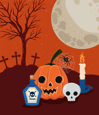 Illustration pour Halloween pumpkin and skull cartoons in front of cemetery design, Holiday and scary theme Vector illustration - image libre de droit