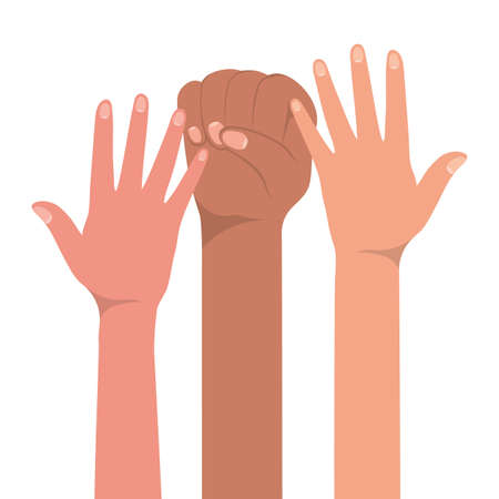 Illustration for fist sign and open hands up of different types of skins design, diversity people multiethnic race and community theme Vector illustration - Royalty Free Image