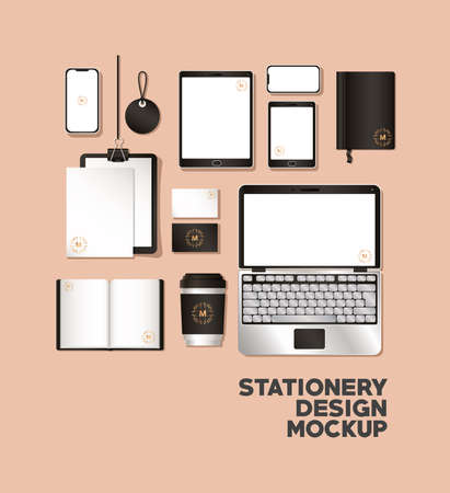 Illustration pour mockup set with black branding of corporate identity and stationery design theme Vector illustration - image libre de droit