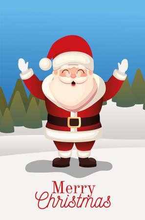 Illustration pour santa claus with merry christmas lettering on a forest background vector illustration design - image libre de droit
