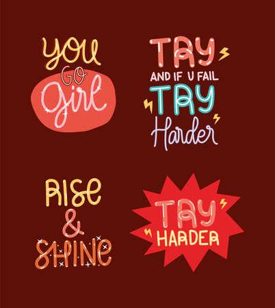 Illustration for motivation lettering bundle - Royalty Free Image
