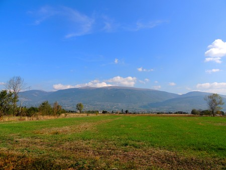 Landscape of Umbrian country with Monte Subasio in the background