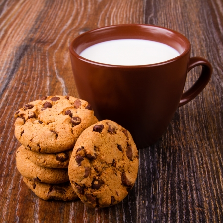 Chocolate chip cookies and a cup of milk