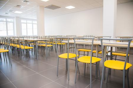 Photo pour Modern new school building. Cafeteria in modern school - image libre de droit