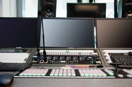 Photo pour The control panel in the studio. Equipment in broadcasting - image libre de droit