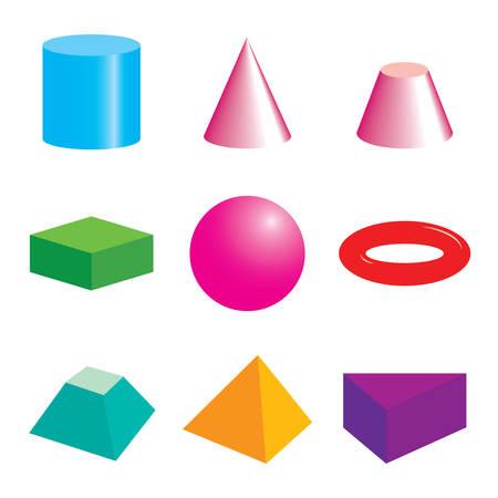 Illustration for Set of volumetric geometric colored shapes. - Royalty Free Image