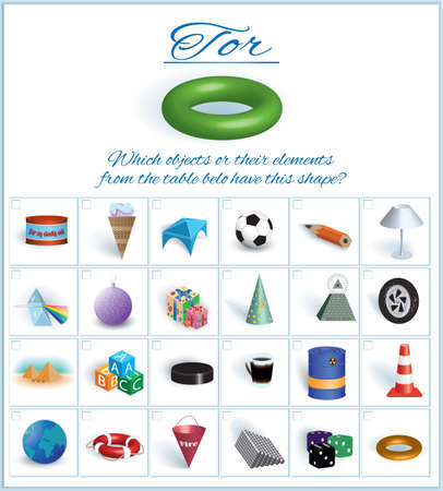 Illustration pour Tor. Image of volumetric geometrical figure with examples of such objects form. Vector illustration - image libre de droit