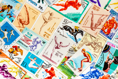 DIFFERENT COUNTRIES - CIRCA 1966-1987ss: Stamps printed in different countries shows set sport olympic games olympiad retro theme set, collage, circa 1966-1987ss