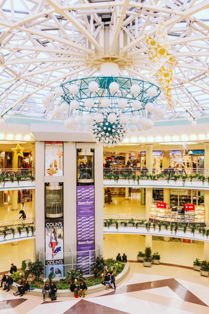 """MINSK - OCTOBER 1: Stolitsa is a major shopping center in Belarussian capital on October 1, 2013 in Minsk, Belarus. TC """"Stolitsa� is situated at the central square of Minsk – Nezavisimosty square. All its pedestrian part is a roofing of undergroun"""