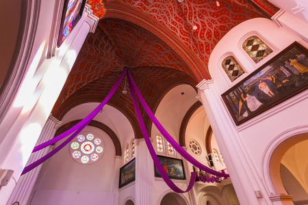 MINSK - APR 5: Interior of Belarussian roman catholic church of Saints Simon and Helen (Red Church) on Independence Square on April 5, 2014 in Minsk, Belarus.