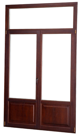 Plastic window with double glazed windows, simulates the dark mahogany