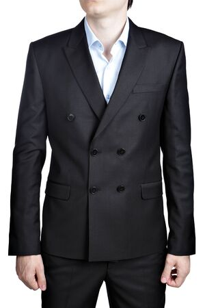 Double-breasted black men wedding Gentleman suit, isolated over white.