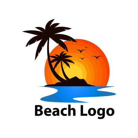 Illustration for beach logo design - Royalty Free Image