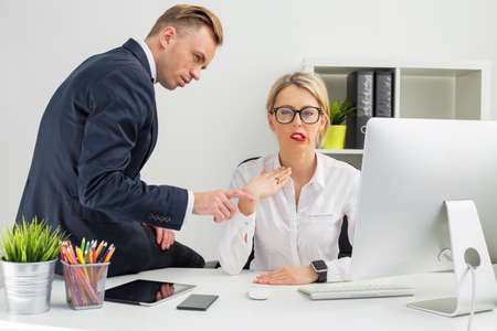 Photo for Employee being annoyed by her boss - Royalty Free Image