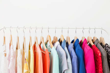 Photo pour Different clothes on the rack - image libre de droit