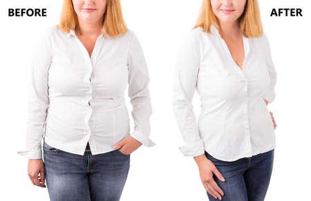 Foto de Woman posing before and after successful diet - Imagen libre de derechos