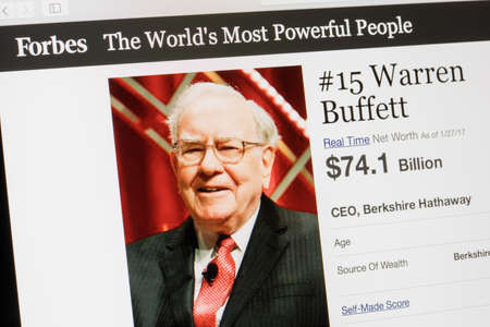 Photo pour RIGA, LATVIA - February 24, 2017: Forbes Magazine list of The Worlds Most Powerful People.Number 15 Warren Buffet the CEO of Berkshire Hathaway. - image libre de droit