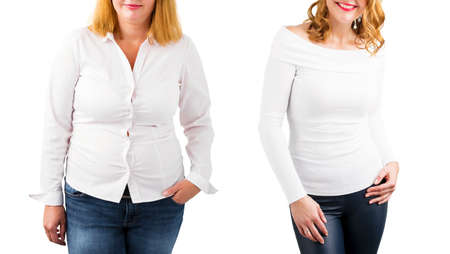 Foto de Casual woman before and after weight loss, isolated on white - Imagen libre de derechos